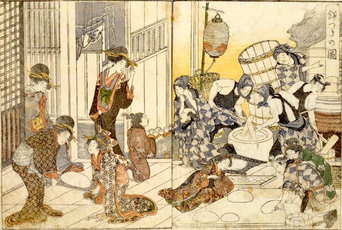 吉原での餅つき(『青楼絵抄年中行事』より 十返舎一九 著/喜多川歌麿 画)