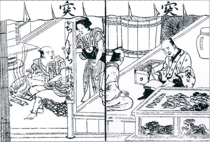 「賃餅」の看板を掲げ餅を売る江戸時代の菓子屋(『縁組連理鯰』より)