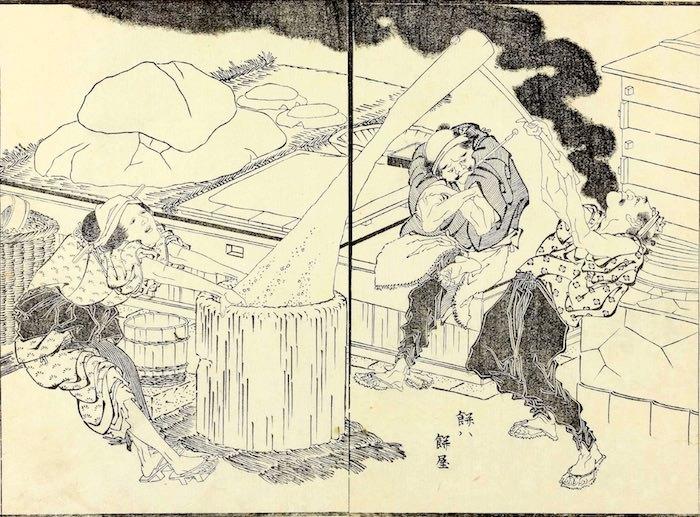 江戸時代の餅つきの様子(『北斎漫画』十二巻より「餅は餅屋」)