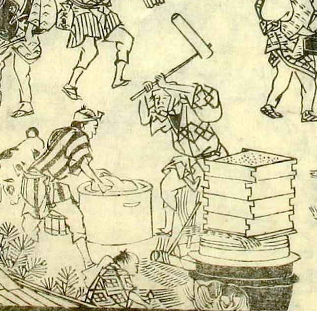 江戸時代の出張餅つき屋「引きずり餅」(『東都歳事記』「歳暮交加図」)