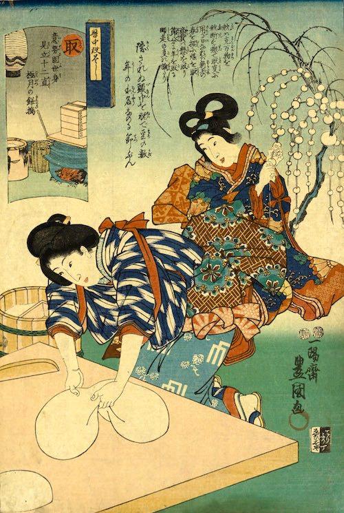 お餅をこねる江戸時代の女性(『暦中段尽くし』歌川豊国 画)