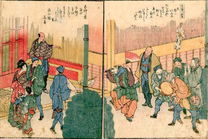 狐舞い(『隅田川両岸一覧』より「吉原の終年」葛飾北斎 画)