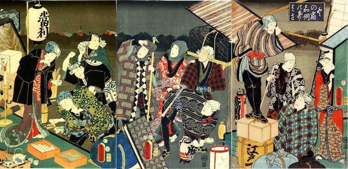 『冬の宿 嘉例のすゝはき』(三代歌川豊国 画)