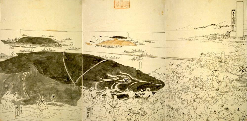 『捕鯨図』(歌川国芳 画)の拡大画像