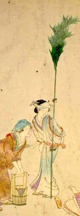 煤竹を持つ江戸時代の女性