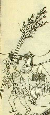 煤竹売り(『東都歳事記』より「商家煤払い」部分)