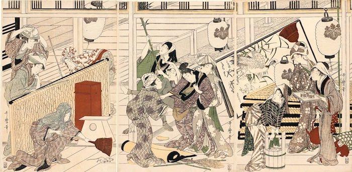 煤払いをする武家 左側(『武家煤払の図』喜多川歌麿 画)
