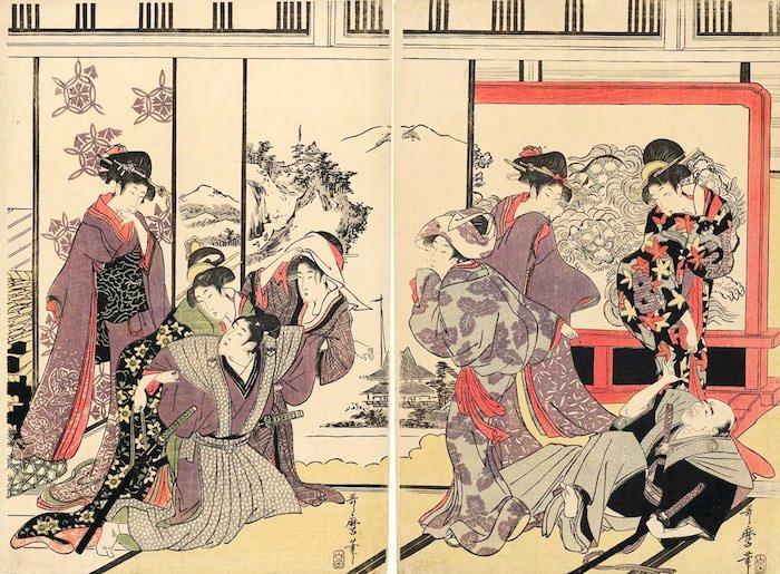 煤払いをする武家 右側(『武家煤払の図』喜多川歌麿 画)