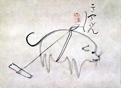 きゃふんきゃふんと鳴く犬(『犬図』 仙厓義梵 画)