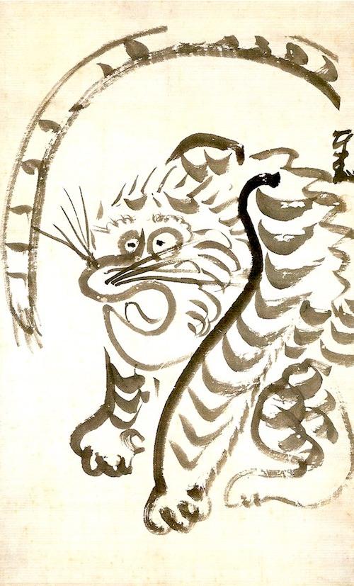 江戸時代の愛嬌のある虎(『虎図』 仙厓義梵 画)