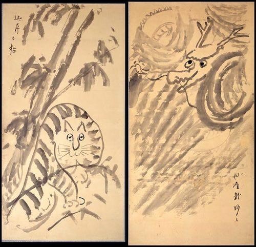 江戸時代のゆるい龍と虎(『龍虎図』 仙厓義梵 画)