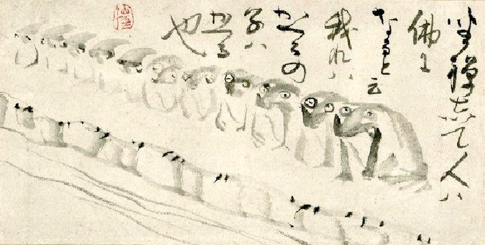 蛙の整列(『群蛙図』 仙厓義梵 画)
