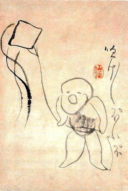 子どもの凧あげ(『凧あげ図』 仙厓義梵 画)