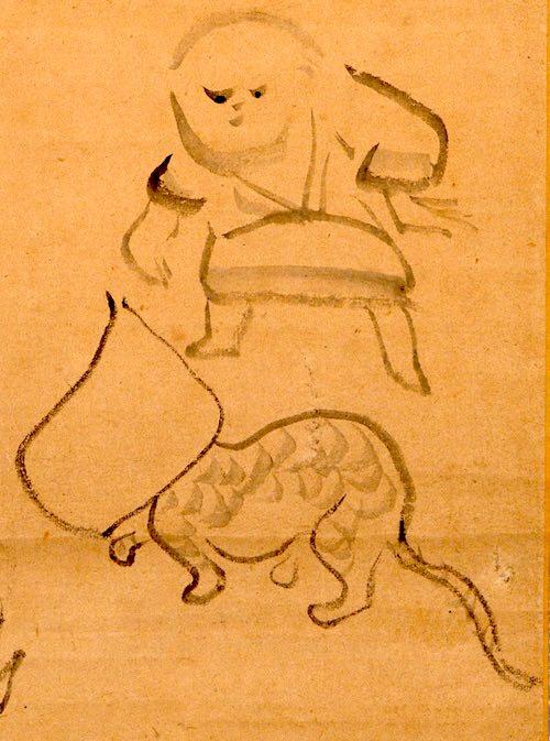 紙袋を被った猫と子ども(『猫に紙袋図』 仙厓義梵 画)