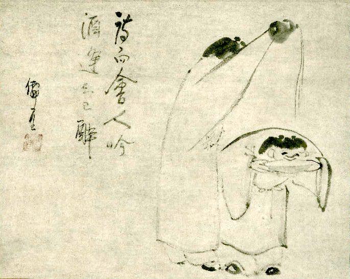 酒宴(『寒山拾得図』 仙厓義梵 画)