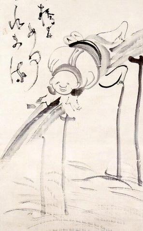 丸太の橋を渡るお坊さん(『橋上人物画賛』 仙厓義梵 画)