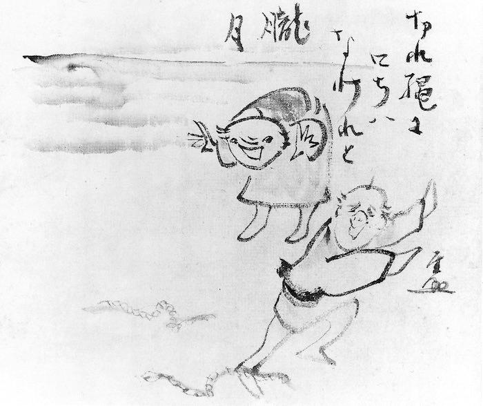 縄と蛇を間違えて驚く男性(『切縄画賛』 仙厓義梵 画)