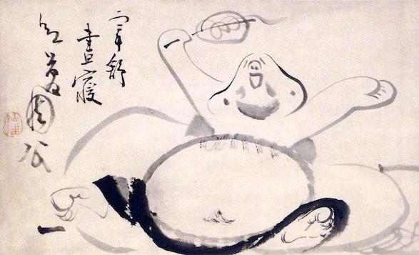 布袋さま(『欠伸布袋図』 仙厓義梵 画)