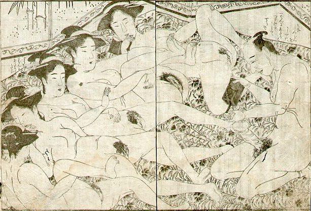 春画 裸の女性を並べる男性(勝川春章 画)