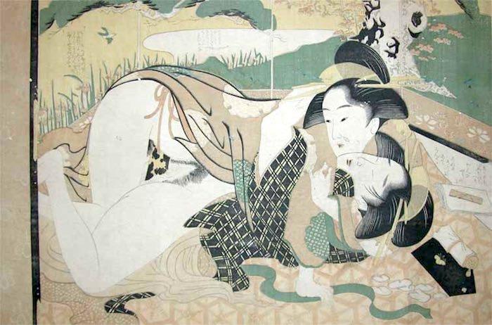 春画 百合もの(レズビアン)(喜多川歌麿 画)