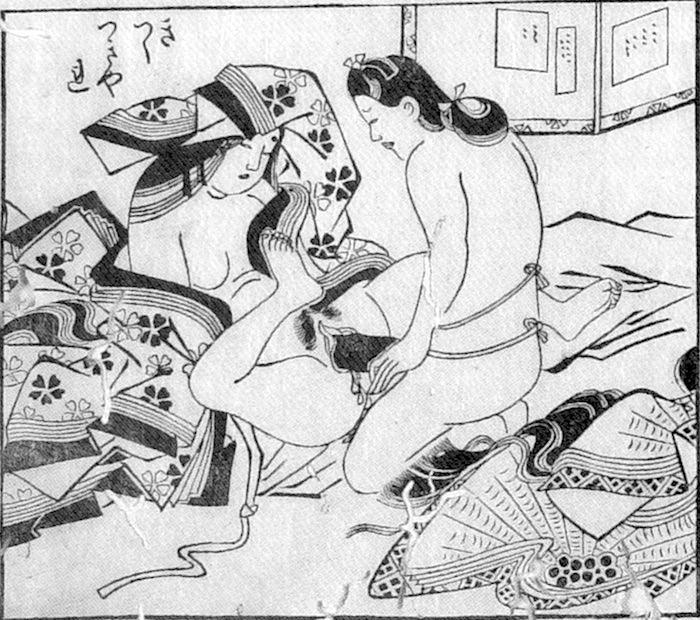 春画 大奥の女中らがアダルトグッズで楽しむ(『床の置物』菱川師宣 画)