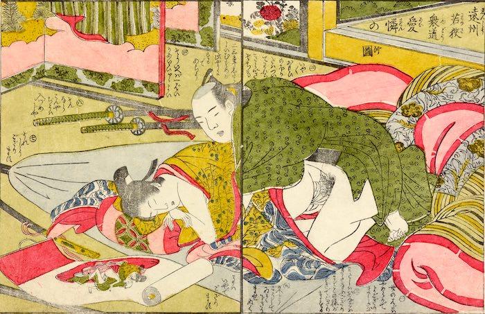 春画 若衆と殿様が春画を見ながら性交している(『艶色水香亭』より「遠州若狭衆道憐愛の図」作者不明)