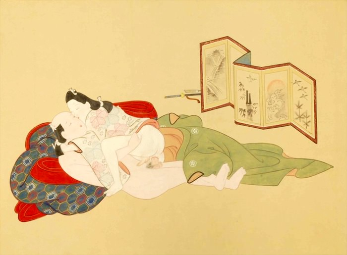 春画 若衆と武士のカップル(『男色秘戯画帖』菱川派 画)
