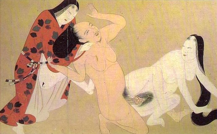 春画 性行為の最中に首を絞められている男性(土佐派 画)