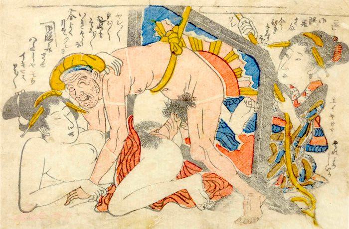春画 老人が腰に巻いたひもを引っ張ってもらい性交をする(作者不明)