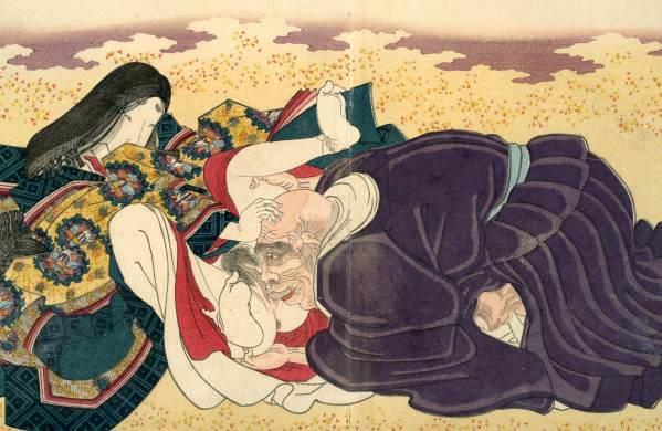 春画 美しい女官を押し倒す老いた僧侶(『花鳥余情 吾妻源氏』歌川国貞 画)