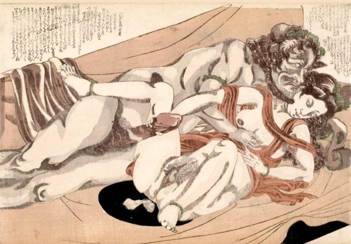 オランダ人カップルの春画(柳川重信 画)