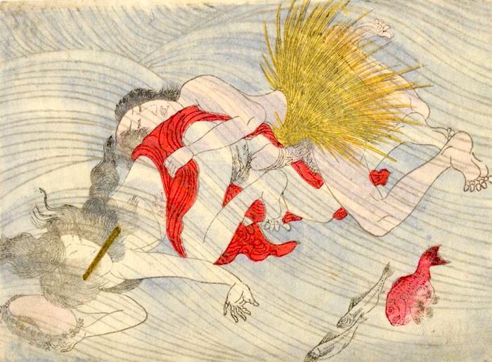 春画 水中で絡み合う海女と漁師(渓斎英泉 画)
