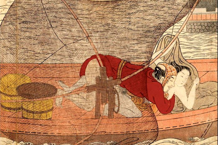 春画 漁船の上で性交をする男女(鈴木春信 画)