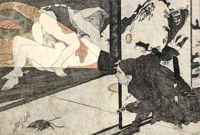 春画 性交を覗き見する暗殺者(?)(喜多川歌麿 画)