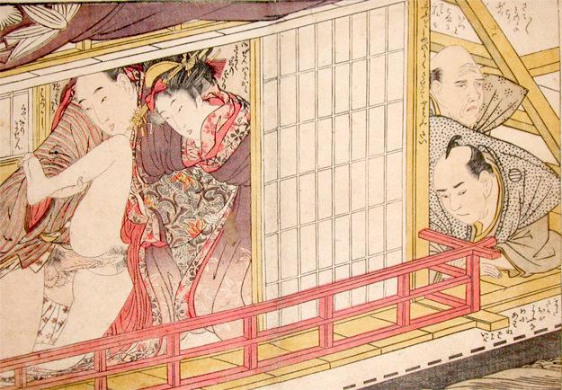 春画 船上での男女の営みに聞き耳をたてる男性たち(喜多川歌麿 画)