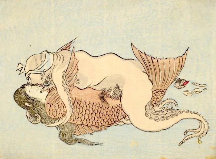 人魚とタコの春画(作者不明)
