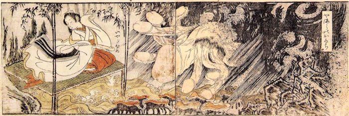 ヤマタノオロチの伝説を模した春画(『百慕々語』より「やまらのおろち」(勝川春章 画)