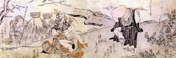 狂言『釣狐』から着想を得た春画(『百慕々語』より「つびきつね」(勝川春章 画)