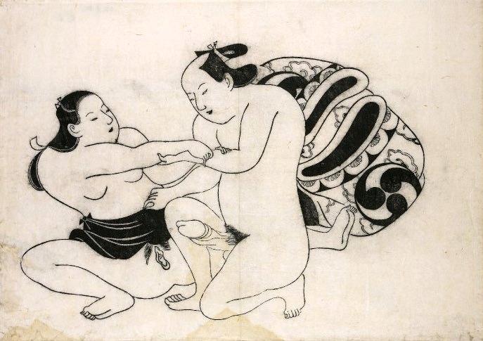 初期のシンプルな春画(鳥居清信 画)