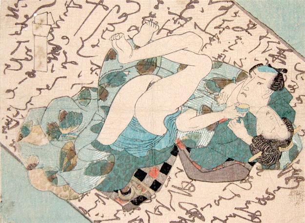 男女の背景が恋文の春画(歌川国芳 画)