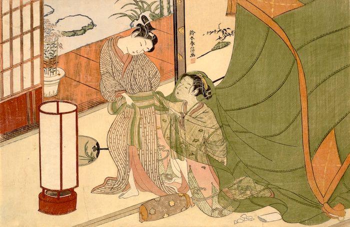 帰り支度をする男性を娘が手伝う様子の春画(鈴木春信 画)