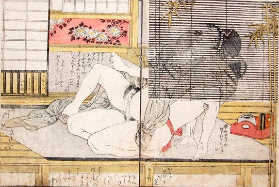 縁側で涼んでいたら行為に及んだ春画(喜多川歌麿 画)