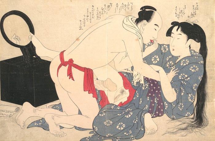 髪のセットをしようとしてたら襲われた春画(『ねがひの糸口』より、喜多川歌麿 画)