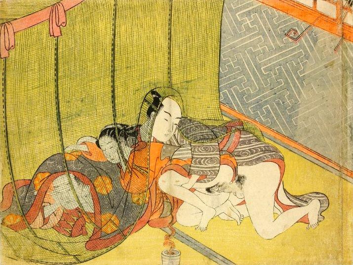 春画 蚊帳を挟んでの三角関係(鈴木春信 画)
