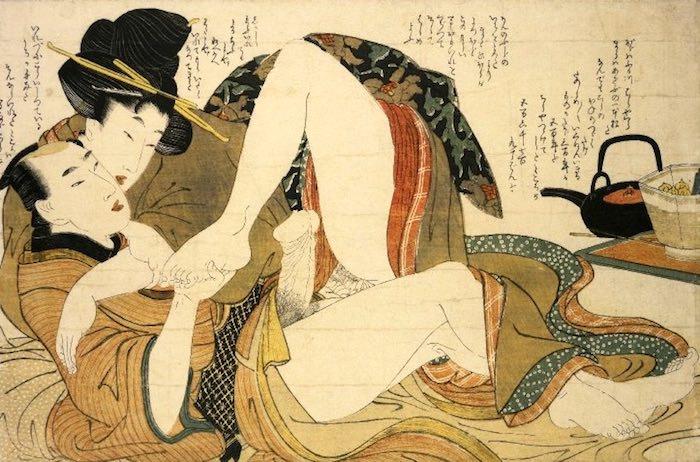 脚線美が目を引く春画(『絵本小町引き』より、喜多川歌麿 画)