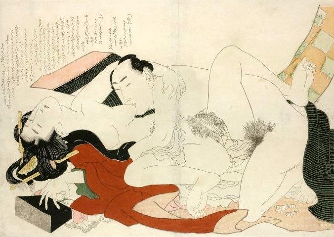 赤と黒が印象的なオシャレな春画(『絵本つひの雛形』より、葛飾北斎 画)