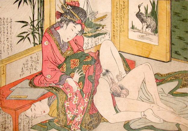 よく見ると男性が隠れている春画(喜多川歌麿 画)