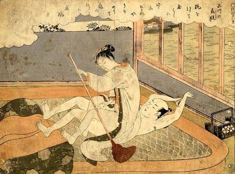 船こぎのような体位を楽しむ春画(『風流江戸八景』より、鈴木春信 画)