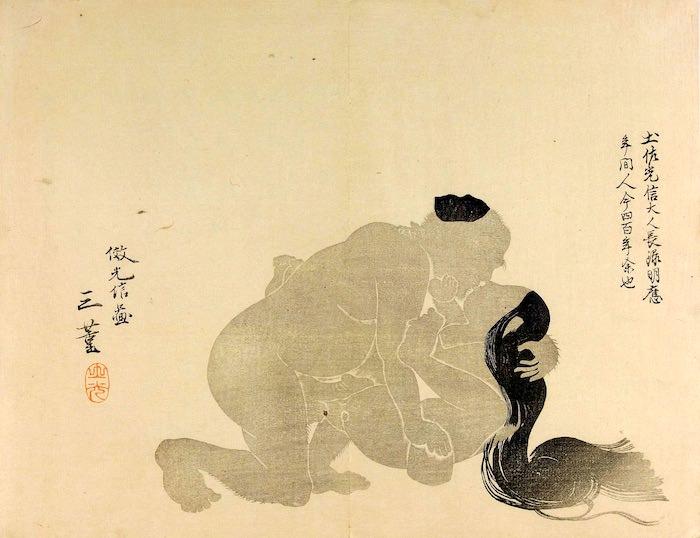 影絵の春画(『華月帖』より、花月琴翁 画)
