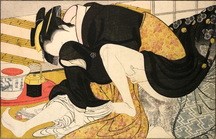 恥じらう女性を描いた春画(『歌まくら』より、喜多川歌麿 画)